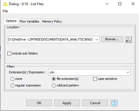 lire liste de fichiers KNIME